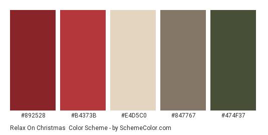 Relax on Christmas - Color scheme palette thumbnail - #892528 #B4373B #E4D5C0 #847767 #474F37