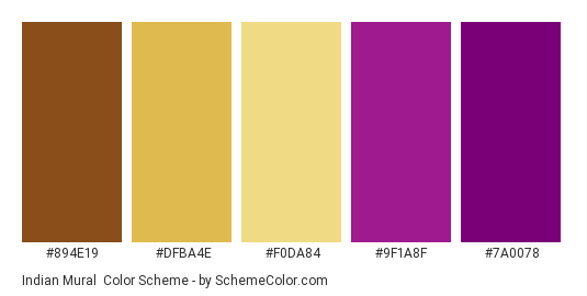 Indian Mural - Color scheme palette thumbnail - #894e19 #dfba4e #f0da84 #9f1a8f #7a0078