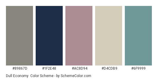Dull Economy - Color scheme palette thumbnail - #89867d #1f2e48 #ac8d94 #d4cdb9 #6f9999