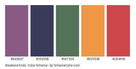 Weekend Ends - Color scheme palette thumbnail - #8A5B87 #39395b #567358 #ED9948 #CB4949