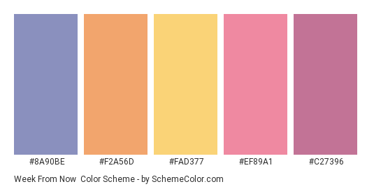 Week From Now - Color scheme palette thumbnail - #8A90BE #F2A56D #FAD377 #EF89A1 #C27396
