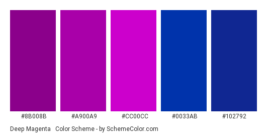Deep Magenta & Blue - Color scheme palette thumbnail - #8B008B #a900a9 #CC00CC #0033AB #102792
