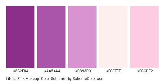 Life is Pink Makeup - Color scheme palette thumbnail - #8B2F8A #aa54aa #d893d0 #FCEFEE #FCCDE2