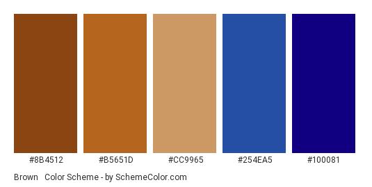 Brown & Navy Blue - Color scheme palette thumbnail - #8B4512 #B5651D #CC9965 #254EA5 #100081