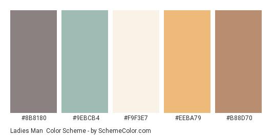 Ladies Man - Color scheme palette thumbnail - #8B8180 #9EBCB4 #F9F3E7 #EEBA79 #B88D70
