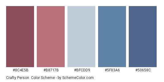 Crafty Person - Color scheme palette thumbnail - #8C4E5B #B8717B #BFCDD9 #5F83A6 #50658C