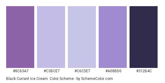 Black Currant Ice Cream - Color scheme palette thumbnail - #8C63A7 #C3BCE7 #C6C5E7 #A08BD0 #312B4C