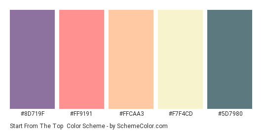 Start from the Top - Color scheme palette thumbnail - #8D719F #FF9191 #FFCAA3 #F7F4CD #5D7980