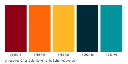 Unreported Offer - Color scheme palette thumbnail - #8E0016 #FD6709 #FEB726 #002A38 #04949E