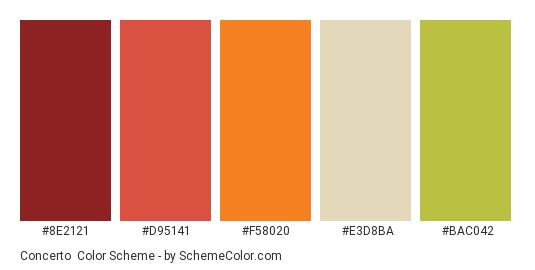 Concerto - Color scheme palette thumbnail - #8E2121 #D95141 #F58020 #E3D8BA #BAC042