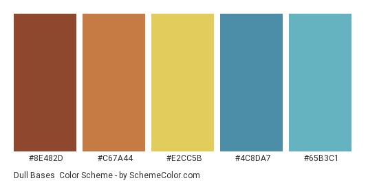 Dull Bases - Color scheme palette thumbnail - #8E482D #C67A44 #E2CC5B #4C8DA7 #65B3C1