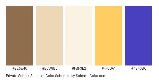 Private School Session - Color scheme palette thumbnail - #8E6E4C #ECD8B5 #FBF3E2 #FFCD61 #4840BC