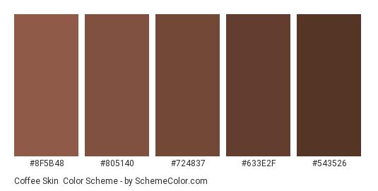 Coffee Skin - Color scheme palette thumbnail - #8F5B48 #805140 #724837 #633E2F #543526