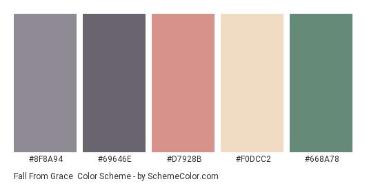 Fall from Grace - Color scheme palette thumbnail - #8F8A94 #69646E #D7928B #F0DCC2 #668A78