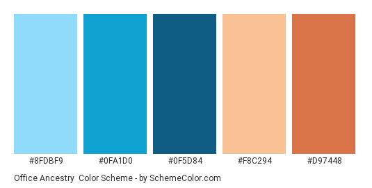 Office Ancestry - Color scheme palette thumbnail - #8FDBF9 #0FA1D0 #0F5D84 #F8C294 #D97448