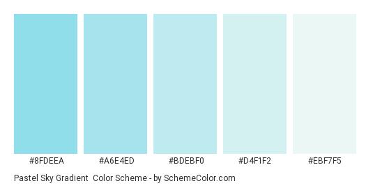 Pastel Sky Gradient - Color scheme palette thumbnail - #8FDEEA #A6E4ED #BDEBF0 #D4F1F2 #EBF7F5