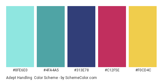 Adept Handling - Color scheme palette thumbnail - #8FE6E0 #4FA4A5 #313E78 #C12F5E #F0CD4C