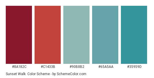 Sunset Walk - Color scheme palette thumbnail - #8a182c #c1433b #90b8b2 #65a5aa #35959d
