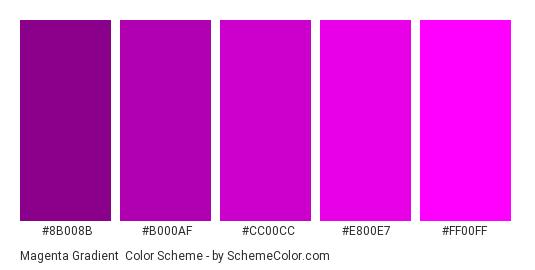 Magenta Gradient - Color scheme palette thumbnail - #8b008b #b000af #cc00cc #e800e7 #ff00ff