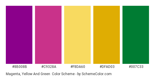 Magenta, Yellow and Green - Color scheme palette thumbnail - #8b008b #c9328a #f8da60 #dfad03 #007c33