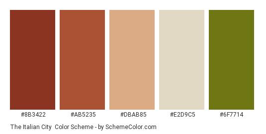 The Italian City - Color scheme palette thumbnail - #8b3422 #ab5235 #dbab85 #E2D9C5 #6f7714