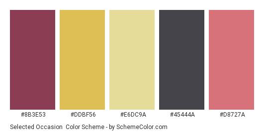 Selected Occasion - Color scheme palette thumbnail - #8b3e53 #ddbf56 #e6dc9a #45444a #d8727a
