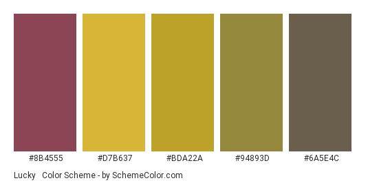 Lucky & Wealthy - Color scheme palette thumbnail - #8b4555 #d7b637 #bda22a #94893d #6a5e4c