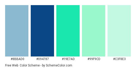 Free Web - Color scheme palette thumbnail - #8bbad0 #094787 #19e7ad #99f9cd #c3f8e3