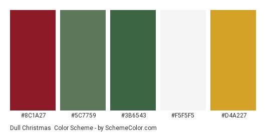 Dull Christmas - Color scheme palette thumbnail - #8c1a27 #5c7759 #3b6543 #f5f5f5 #d4a227