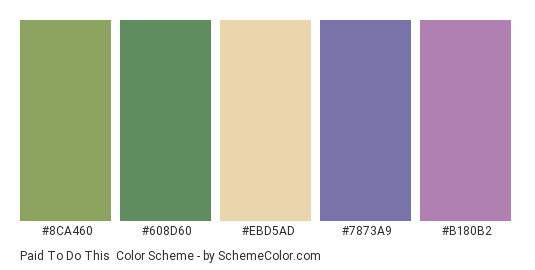 Paid to Do This - Color scheme palette thumbnail - #8ca460 #608d60 #ebd5ad #7873a9 #b180b2