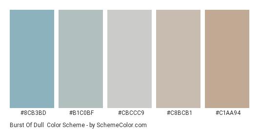 Burst of Dull - Color scheme palette thumbnail - #8cb3bd #b1c0bf #cbccc9 #c8bcb1 #c1aa94