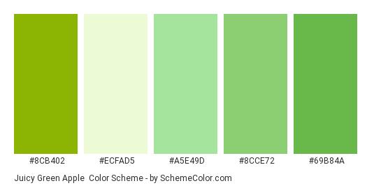Juicy Green Apple - Color scheme palette thumbnail - #8cb402 #ecfad5 #a5e49d #8cce72 #69b84a