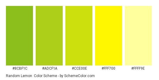 Random Lemon - Color scheme palette thumbnail - #8cbf1c #adcf1a #cce00e #fff700 #ffff9e