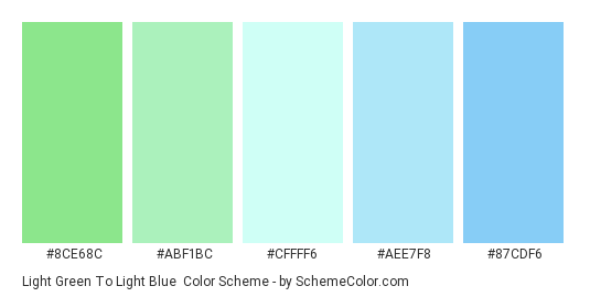 Light Green to Light Blue - Color scheme palette thumbnail - #8ce68c #abf1bc #cffff6 #aee7f8 #87cdf6