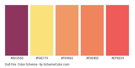 Dull Fire - Color scheme palette thumbnail - #8d355d #fae179 #f09866 #f0845d #ef5b59