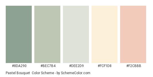 Pastel Bouquet - Color scheme palette thumbnail - #8da290 #bec7b4 #dee2d9 #fcf1d8 #f2cbbb