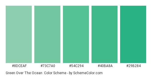 Green Over the Ocean - Color scheme palette thumbnail - #8dceaf #73c7a0 #54c294 #40ba8a #29b284