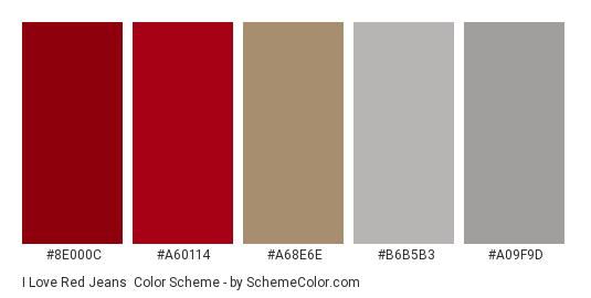 I Love Red Jeans - Color scheme palette thumbnail - #8e000c #a60114 #a68e6e #b6b5b3 #a09f9d