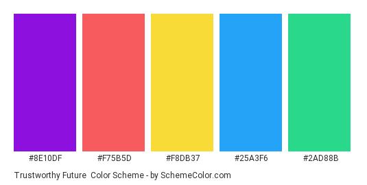 Trustworthy Future - Color scheme palette thumbnail - #8e10df #f75b5d #f8db37 #25a3f6 #2ad88b
