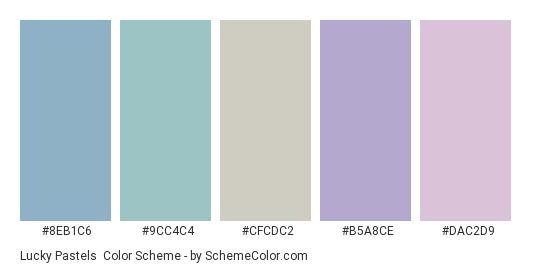 Lucky Pastels - Color scheme palette thumbnail - #8eb1c6 #9cc4c4 #cfcdc2 #b5a8ce #dac2d9