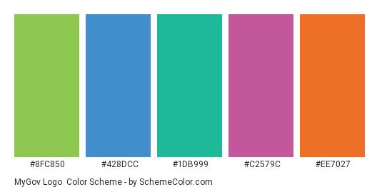 MyGov Logo - Color scheme palette thumbnail - #8fc850 #428dcc #1db999 #c2579c #ee7027