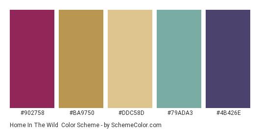 Home in the Wild - Color scheme palette thumbnail - #902758 #BA9750 #DDC58D #79ADA3 #4B426E