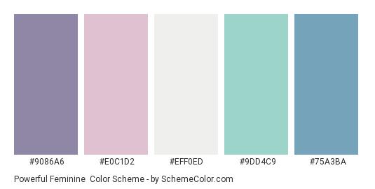 Powerful Feminine - Color scheme palette thumbnail - #9086A6 #E0C1D2 #EFF0ED #9DD4C9 #75A3BA