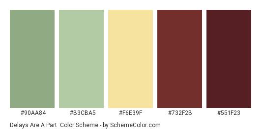 Delays Are a Part - Color scheme palette thumbnail - #90AA84 #B3CBA5 #F6E39F #732F2B #551F23
