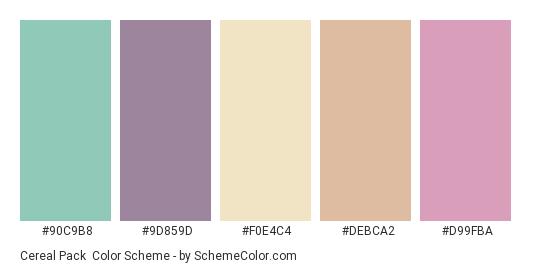 Cereal Pack - Color scheme palette thumbnail - #90C9B8 #9D859D #F0E4C4 #DEBCA2 #D99FBA
