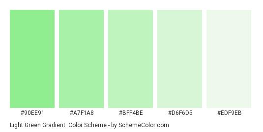 Light Green Gradient - Color scheme palette thumbnail - #90EE91 #A7F1A8 #BFF4BE #D6F6D5 #EDF9EB