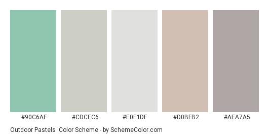 Outdoor Pastels - Color scheme palette thumbnail - #90c6af #cdcec6 #e0e1df #d0bfb2 #aea7a5