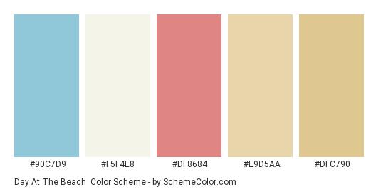 Day At The Beach - Color scheme palette thumbnail - #90c7d9 #f5f4e8 #df8684 #e9d5aa #dfc790