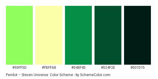 Peridot – Steven Universe - Color scheme palette thumbnail - #90ff5d #fbffa8 #048f45 #024f2e #001d15