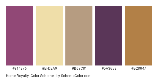 Home Royalty - Color scheme palette thumbnail - #914876 #efdea9 #b69c81 #5a3658 #b28047
